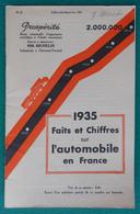 Brochure Prospérité Des Éditions Michelin - Faits Et Chiffres Sur L'Automobile En France En 1935 - Auto