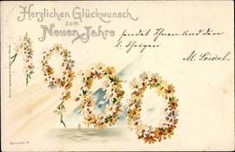 Lithographie Glückwunsch Neujahr, Jahreszahl 1900 Aus Margeritenblüten - Anno Nuovo