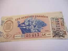 Loterie Nationale / Les Gueules Cassées/ Groupe III 48 éme Tranche/ 1-10 éme  / 1961       LOT50 - Lottery Tickets