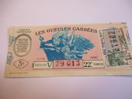 Loterie Nationale / Les Gueules Cassées/ Groupe V 22 éme Tranche/ 1-10 éme  / 1961       LOT52 - Lottery Tickets