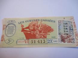 Loterie Nationale / Les Gueules Cassées/ Groupe VI 23 éme Tranche/ 1-10 éme  / 1961       LOT53 - Lottery Tickets