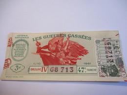 Loterie Nationale / Les Gueules Cassées/ Groupe IV 47 éme Tranche/ 1-10 éme  / 1961       LOT54 - Lottery Tickets