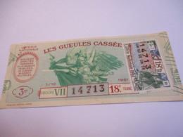 Loterie Nationale / Les Gueules Cassées/ GroupeVII  18 éme Tranche/ 1-10 éme  / 1961       LOT55 - Lottery Tickets