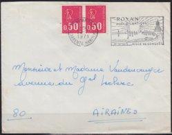 Marianne De Béquet   50c Rouge    LA PAIRE   Sur Enveloppe De ROYAN  Ch-Mme   Postée Le 22 7 1971 - 1971-76 Marianne (Béquet)