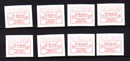 Belgique  Belgique 1986, Timbres Distributeurs, Congo-Zaïre, 2X ATM 62**( Variété 10-12-15-20 FB**), Cote 50 € - 1980-99