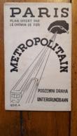 RARE PLAN METROPOLITAIN 1936 OFFERT PAR LE CHEMIN DE FER 48 X 31 CM BESTELLE DESSINATEUR PARFAIT ETAT - Europe