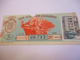 Loterie Nationale / Les Gueules Cassées/ Groupe V  20 éme Tranche/ 1-10 éme  / 1961       LOT56 - Lottery Tickets