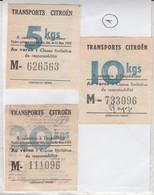 1 ) Reçu Colis Postal Citroën / Lot De 3 Tickets Détachés  / 5 Kg  10 Kg  20 Kg - Lettres & Documents