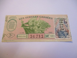Loterie Nationale / Les Gueules Cassées/ Groupe I  38 éme Tranche/ 1-10 éme  / 1961       LOT60 - Lottery Tickets