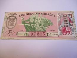 Loterie Nationale / Les Gueules Cassées/ Groupe VII  13  éme Tranche/ 1-10 éme  / 1961       LOT61 - Lottery Tickets