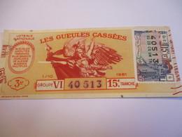 Loterie Nationale / Les Gueules Cassées/ Groupe VII  15  éme Tranche/ 1-10 éme  / 1961       LOT62 - Lottery Tickets
