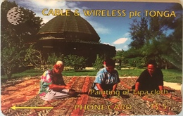TONGA  -  Phonecards  - Cable § Wireless  - Painting Of Tapa Cloth - T$5 - Tonga