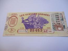 Loterie Nationale / Les Gueules Cassées/ Groupe V   43  éme Tranche/ 1-10 éme  / 1961       LOT69 - Lottery Tickets