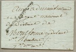 Commission Des Subsistances Et Approvisionnements   Marque De Franchise  Sénéchal 673 Adressé à MONT FERME - 1701-1800: Precursors XVIII