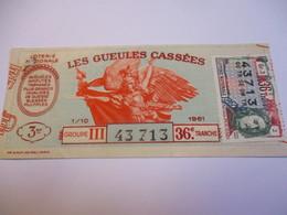 Loterie Nationale / Les Gueules Cassées/ Groupe III   36 éme Tranche/ 1-10 éme  / 1961       LOT70 - Lottery Tickets