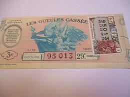 Loterie Nationale / Les Gueules Cassées/ Groupe I   29 éme Tranche/ 1-10 éme  / 1961       LOT74 - Lottery Tickets