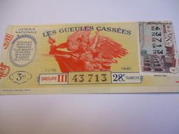 Loterie Nationale / Les Gueules Cassées/ Groupe III   28 éme Tranche/ 1-10 éme  / 1961       LOT75 - Lottery Tickets
