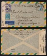 BRESIL - BRASIL / 1947 LETTRE AVION CENSUREE POUR L' ALLEMAGNE - CENSORED (ref 3854) - Brazil