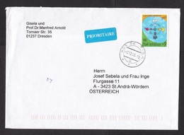 Czech Republic: Cover To Austria, 2003, 1 Stamp, Cartoon, UN Logo, Small Priority Label (backflap Missing) - Lettres & Documents