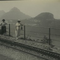 Suisse Funiculaire Brunnen Morschach Ancienne Photo Stereo Possemiers 1920 - Stereoscopic