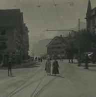 Suisse Brunnen Place Du Marché Ancienne Photo Stereo Possemiers 1920 - Photos Stéréoscopiques