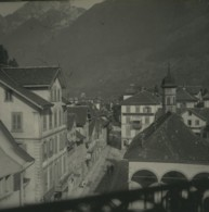 Suisse Brunnen Panorama Ancienne Photo Stereo Possemiers 1920 - Photos Stéréoscopiques