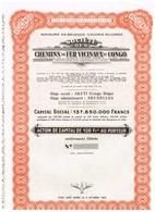 Titre Ancien - Royaume De Belgique - Colonie Du Congo - Société Des Chemins De Fer Vicinaux Du Congo - Titre De 1953 - Chemin De Fer & Tramway