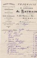 HOUDAN A LAURAIN E LOUVARD PHARMACIE PRODUITS CHIMIQUES VETERINAIRES BANDAGES ANNEE 1909 PETITE DECHIRURRE EN BAS - Francia