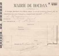 HOUDAN MAIRIE NOTE D INHUMATION ANNEE 1905 - Francia