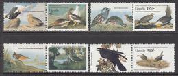 1985 Uganda Audubon Birds Pairings Art Complete Set Of 4 MNH - Uganda (1962-...)