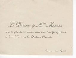 894   Carte Faire Part De Fiançailles Fille Du  Docteur Et Mme MORISSE  Docteur BRANET Tournecoupe  32 Gers - Engagement