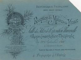 J60 - Invitation Pour La Réception Des Maires De France Du 22 Septembre 1900 - Faire-part
