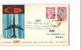 6010 02 FIRST SAS DOUGLAS DC-8 JET FLIGHT THAILAND TO  ROMA - TOKYO MANILA BANGKOK CALCUTTA - Thaïlande