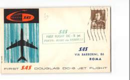 6028 03  FIRST SAS DOUGLAS DC-8 JET FLIGHT IRAN TO ROMA - TOKYO ROME Via TEHERAN - Iran