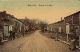 AUBREVILLE. Cpa Colorisée Et Toilée. - Avenue De La Gare.  (scans Recto-verso) - Autres Communes