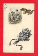 Vienne, Illustrateur -Fleurs; Bouquet De Violettes, Poisson, Enfants, Chien Teckel - Fleurs