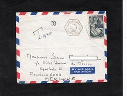 LSC 1954 - Cachet Hexagonal - ST LAURENT Sur MANOIRE (Dordogne) Sur YT 971 - Enveloppe Pour MEXIQUE - Poststempel (Briefe)