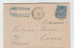 GARD - 29 - St.HYPOLITE Du GARD CàD Type 18 / Sage / LAC De 1879 Pour Ganges TB - Marcophilie (Lettres)