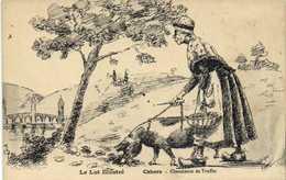 Illustrateur Signé Le Lot Illustré Cahors Chercheuse De Truffes Cochon RV - Cahors