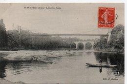 Saint Sulpice La Pointe  Les Deux Ponts Sur L'Agout  + Une Barque Avec Un Pécheur - Saint Sulpice