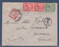 = Enveloppe Taxée En Provenance D'Angleterre Londres 29.07.1922 à Bordeaux N°33 Le 03.08.22 - Postmark Collection (Covers)