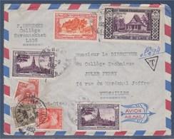 = Enveloppe Taxée En Provenance Du Laos 5.9.52 (4 Timbres) à Versailles 11.9.52 Timbres Taxe 83, 86 Et 87 - Postmark Collection (Covers)