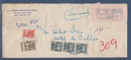 = Enveloppe Taxée En Provenance New-York (USA) 11.9.52 à Paris 15.9.52 Timbres Taxe 86, 87 Et 88 (x3) - Postmark Collection (Covers)