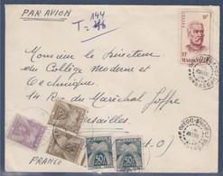 = Enveloppe Taxée En Provenance Diego-Suarez Madagascar 15.4.52à Versailles 19.4.52 Timbres Taxe 84, 87(x2) Et 88 (x2) - Postmark Collection (Covers)