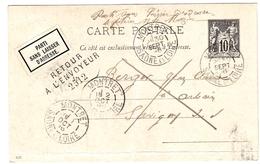 Entier De Montret (71) Pour Savigny-sur-Seille (71) - 30/09/1896 - Préaf.Sage 10c YT89 - CAD Type 84 + Retour Envoyeur - Entiers Postaux