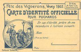 Vevey (VD) Fête Des Vignerons 1905, Carte D'identité Officielle Pour Pochards - Le Trou Est Destiné à Fixer La Carte à L - VD Vaud