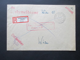 Böhmen Und Mähren 1943 Einschreiben Deutsche Dienstpost Olmütz An Das Wehrmeldeamt In Wien 10 Ostmark Feldpost 2.WK - Briefe U. Dokumente