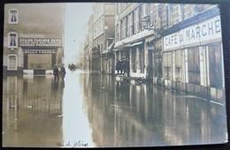 25 - BESANCON -  Les Innondations De 1910 - Graines & Farines Belgy - Rue Des Glères  - Carte Photo Innondation - Doubs - Besancon