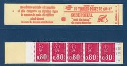 """FR Carnet YT 1816-C4 """" 10 BEQUET 80c. Rouge GT Sans Phosphore """" 1974 Ouvert Daté - Freimarke"""