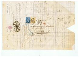 LETTRE A . S BANQUE   DEPART LILLE Pour BRUXELLES 1866 - Marcophilie (Lettres)